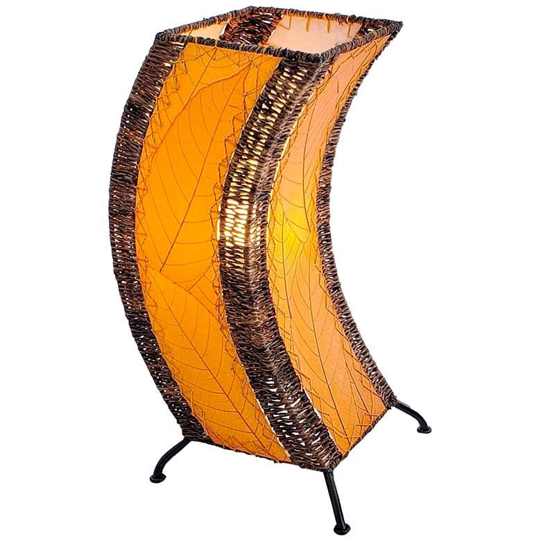 Eangee C-Shape Orange Cocoa Leaves Uplight Accent Table