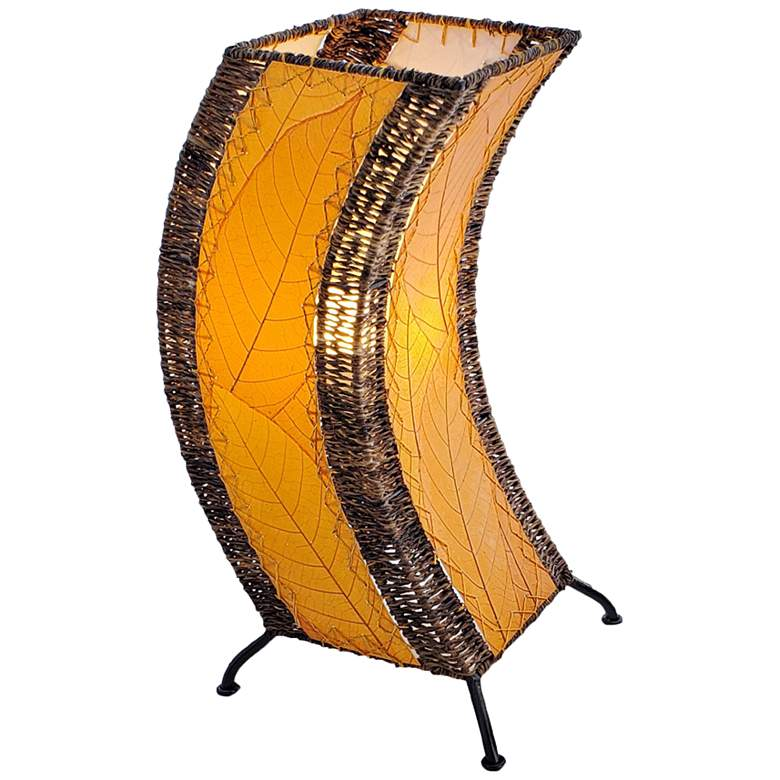 Eangee C-Shape Orange Cocoa Leaves Uplight Accent Table Lamp