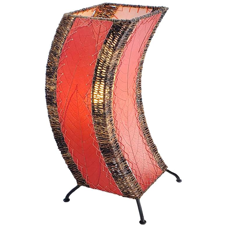 Eangee C-Shape Red Cocoa Leaves Uplight Accent Table