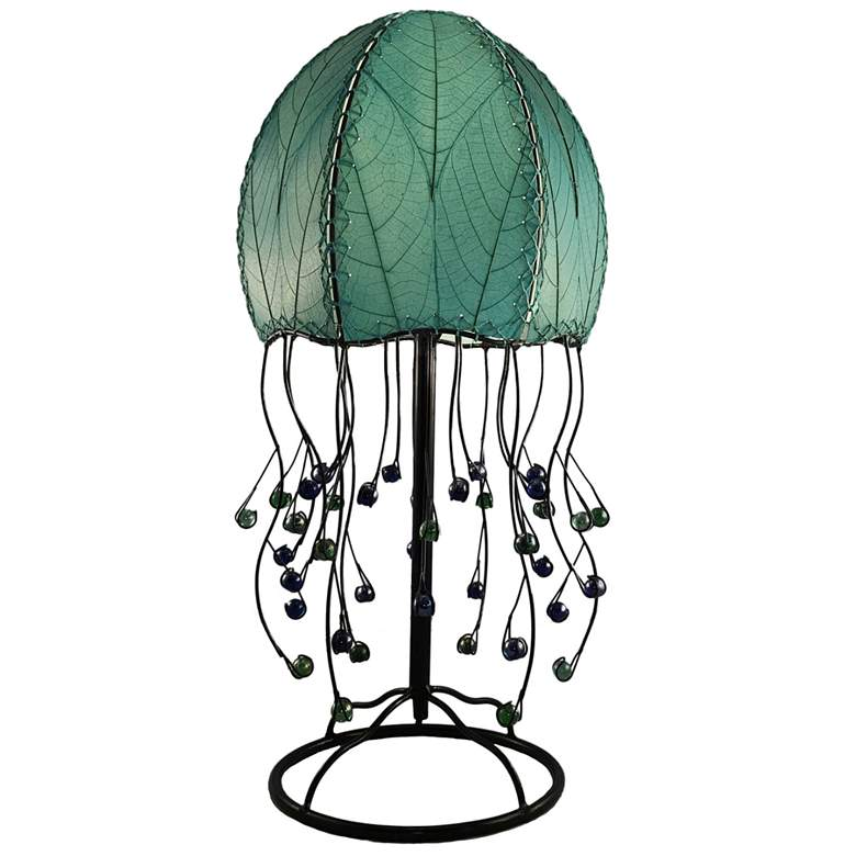 Eangee Jellyfish Sea Blue Cocoa Leaves Table Lamp
