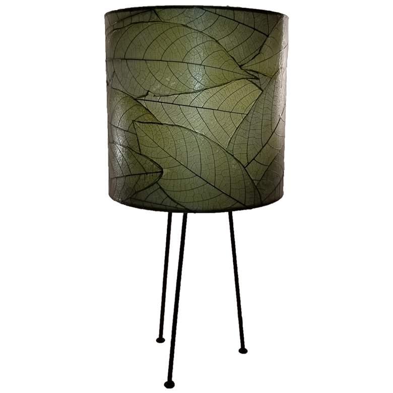 Eangee Metal Tripod Drum Green Accent Table Lamp