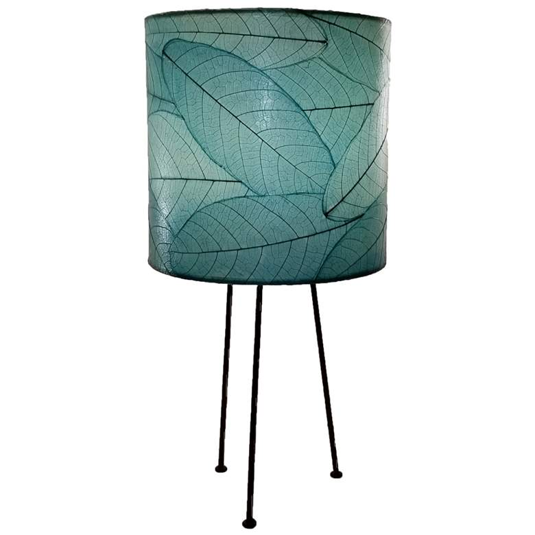 Eangee Metal Tripod Drum Sea Blue Accent Table Lamp
