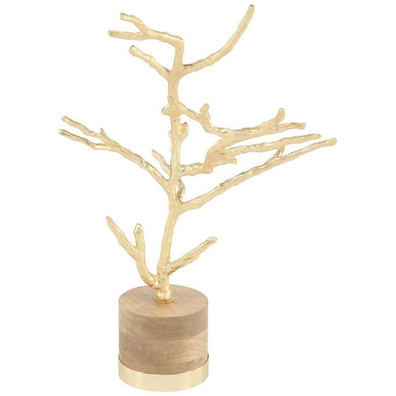 """Rustic 22"""" High Textured Gold Tree on Wood Base Sculpture"""