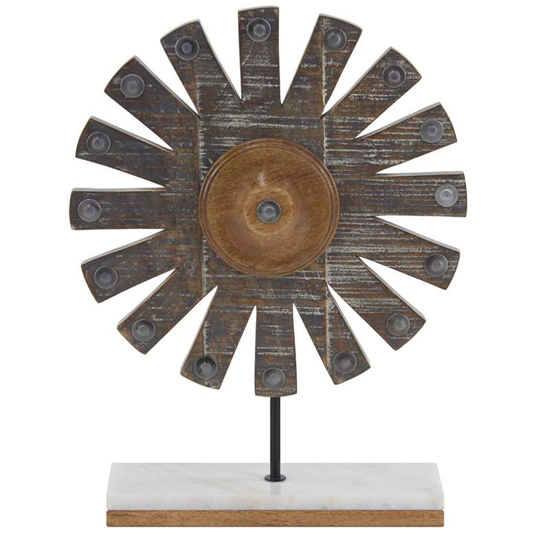 """Farmhouse Distressed Gray 18"""" High Wooden Windmill Sculpture"""