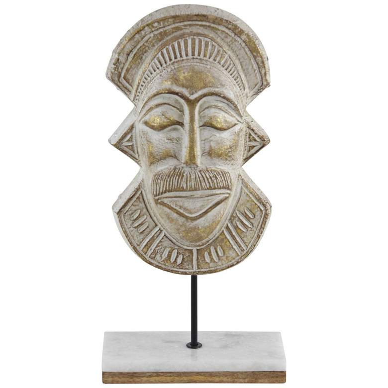 """Eclectic Distressed Brown 18""""H Paper Mache Mask Sculpture"""