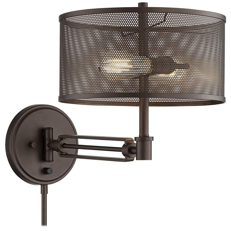 Kevin Bronze Metal Swing Arm Wall Lamp