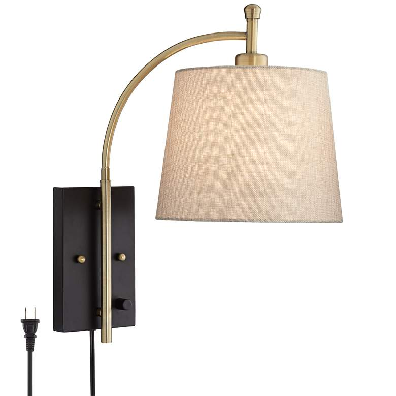 Chester Antique Brass and Black Swing Arm Wall Lamp