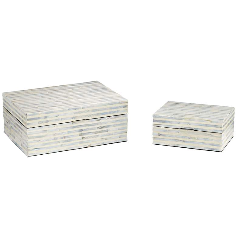 Stained White Mother of Pearl Wood Decorative Boxes Set of 2