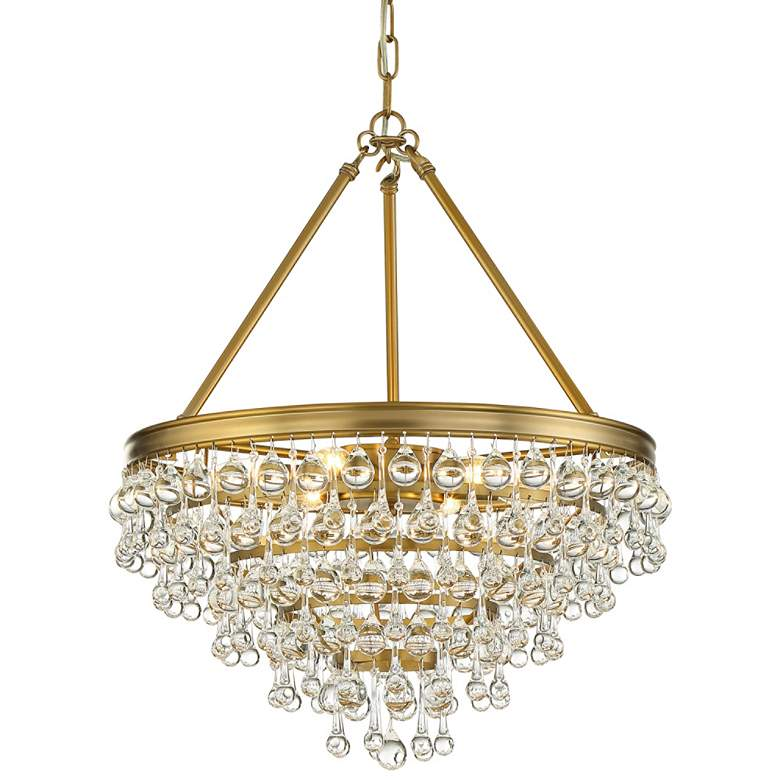"""Calypso 20""""W Vibrant Gold and Crystal Teardrop Chandelier"""