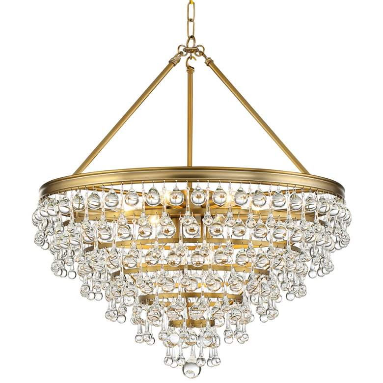 "Calypso 24""W Vibrant Gold and Crystal Teardrop Chandelier"