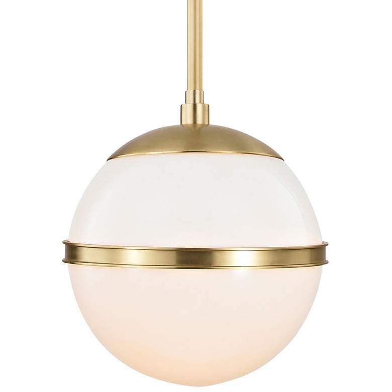 "Crystorama Truax 7"" Wide Aged Brass Globe Mini Pendant"