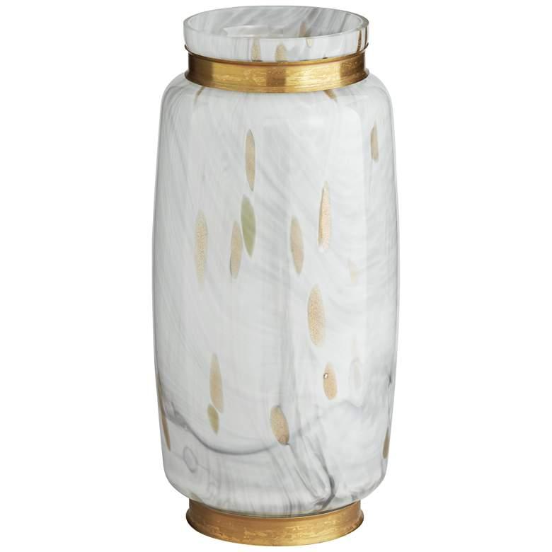 """Chelsie 12 1/2"""" High White and Gold Vase"""