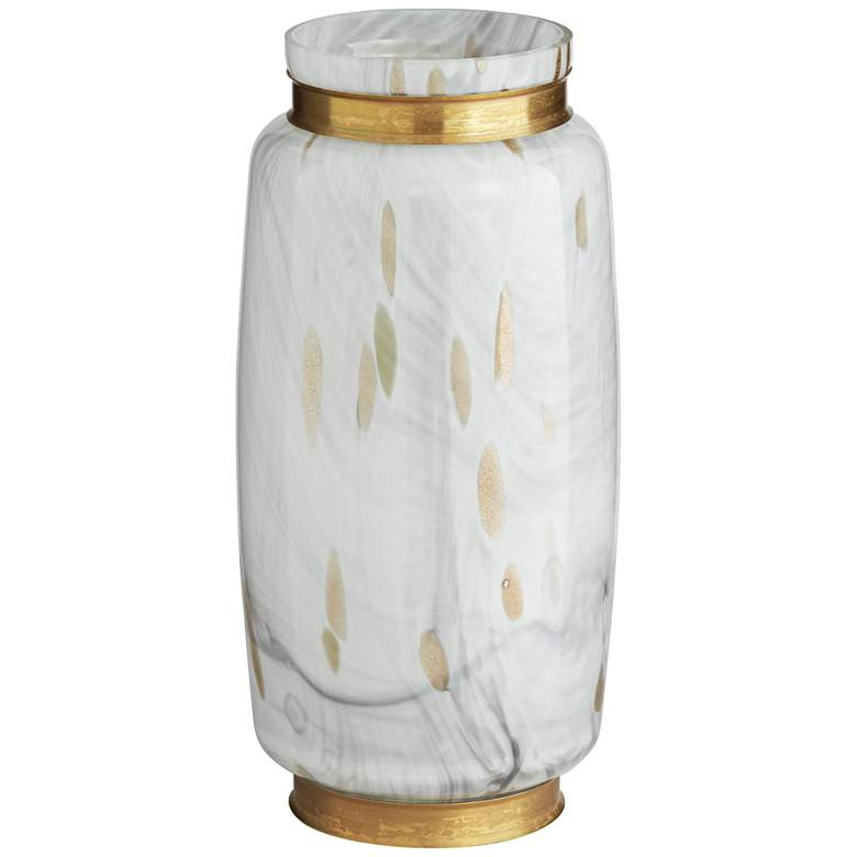 "Chelsie 12 1/2"" High White and Gold Jar"