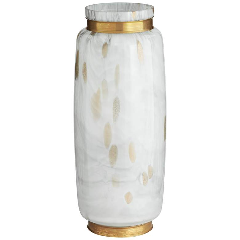 "Chelsie 16 1/2"" High White and Gold Jar"