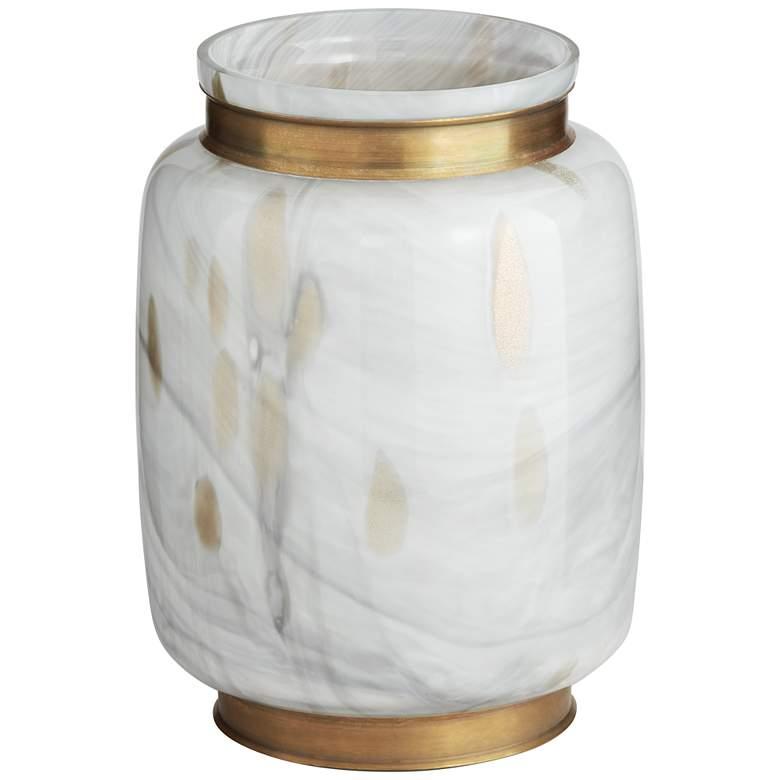 "Chelsie 10 1/2"" High White and Gold Jar"