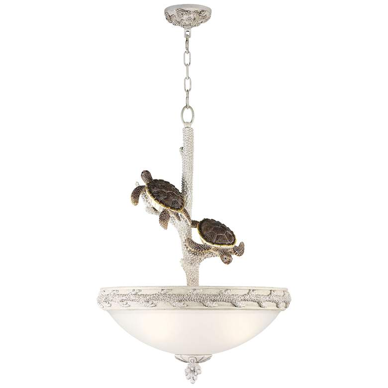 """Turtles Sealife 22"""" Wide Antique and Glass Pendant Light"""