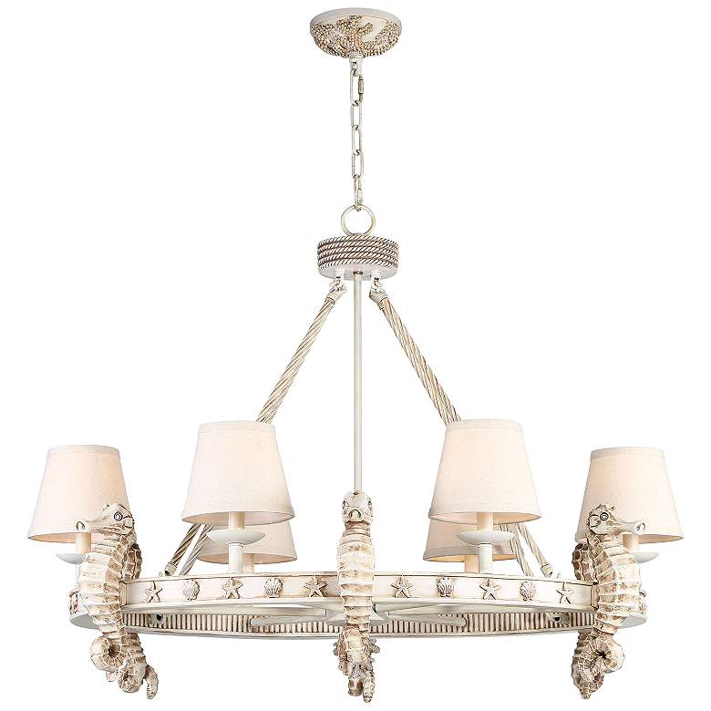 "Seahorse 36"" Wide Antique 6-Light Oval Chandelier"