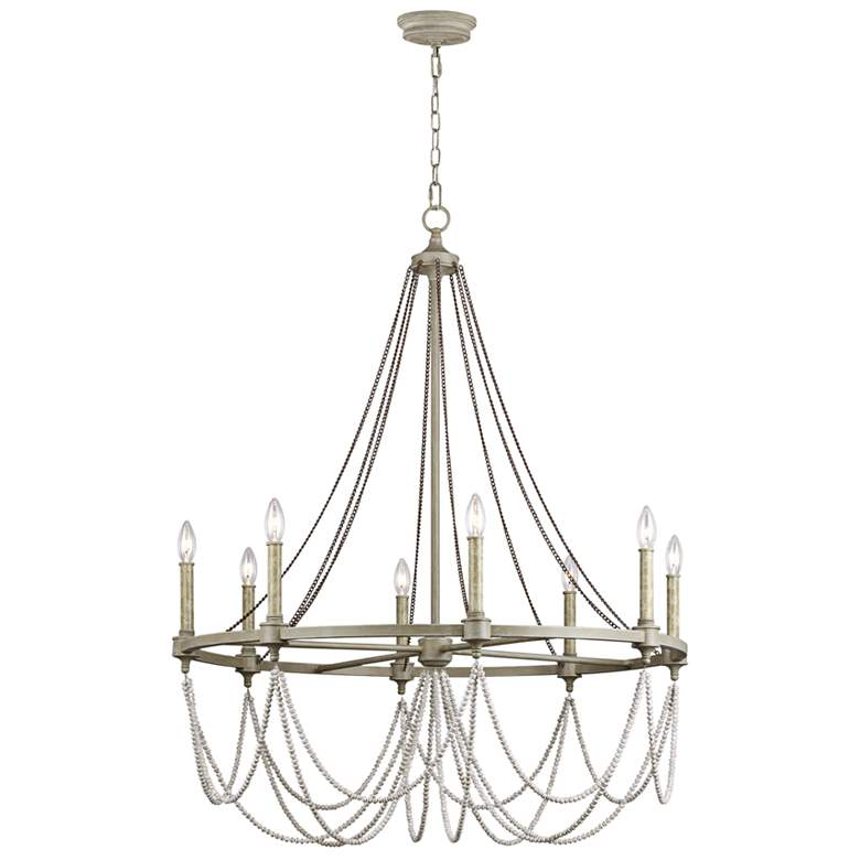 "Feiss Beverly 36"" Wide 8-Light French Washed Oak Chandelier"
