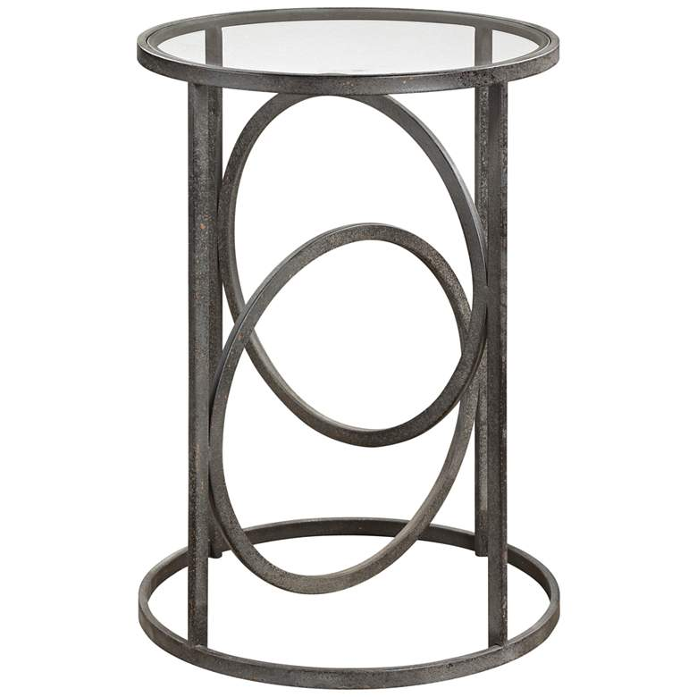 """Uttermost Lucien 17 1/2""""W Textured Aged Black Accent Table"""