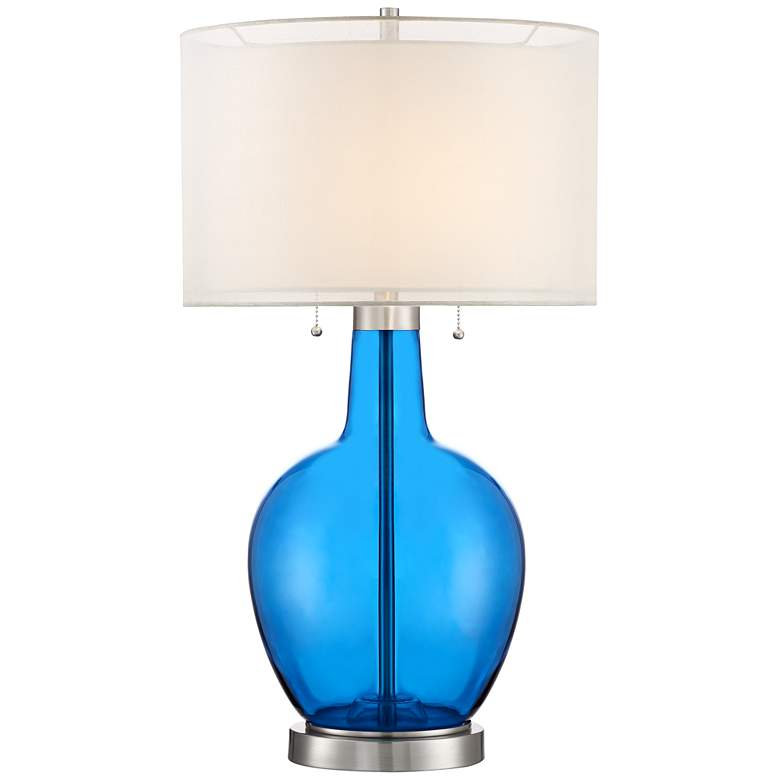 Possini Euro Natalie Blue Glass Gourd Table Lamp
