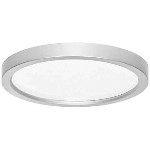 "Pancake Disc 5 1/2"" Round Nickel LED Outdoor Ceiling Light"
