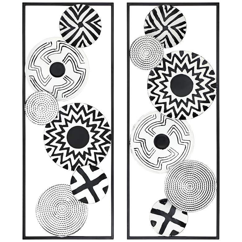 """Black and White Discs 35 1/2"""" High Metal Wall Art Set of 2"""