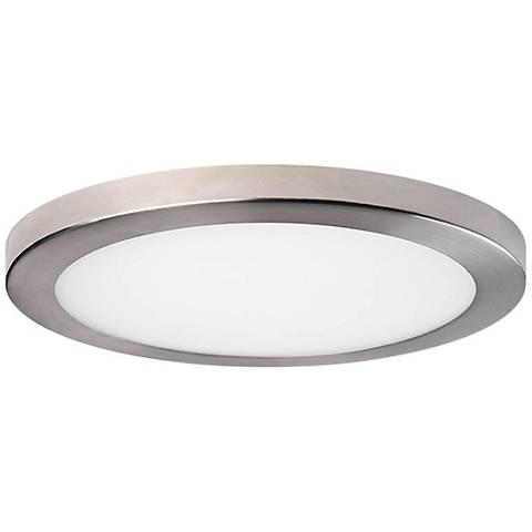 "Platter 15"" Round Brushed Nickel LED Outdoor Ceiling Light"