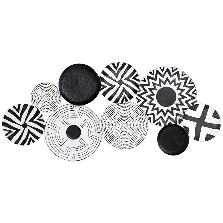 """Abstract Discs 45 1/4"""" Wide Black and White Metal Wall Art"""