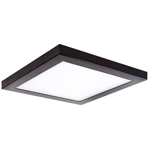 "Platter 13"" Square Bronze LED Outdoor Ceiling Light"