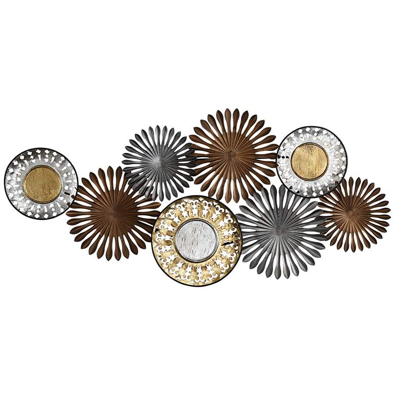 """Sparks and Disks 39 1/4"""" Wide Industrial Metal Wall Art"""