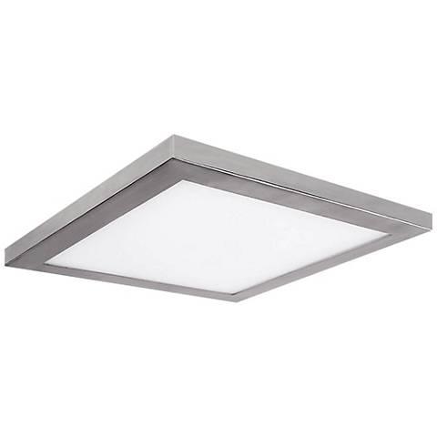 "Platter 13"" Square Brushed Nickel LED Outdoor Ceiling Light"