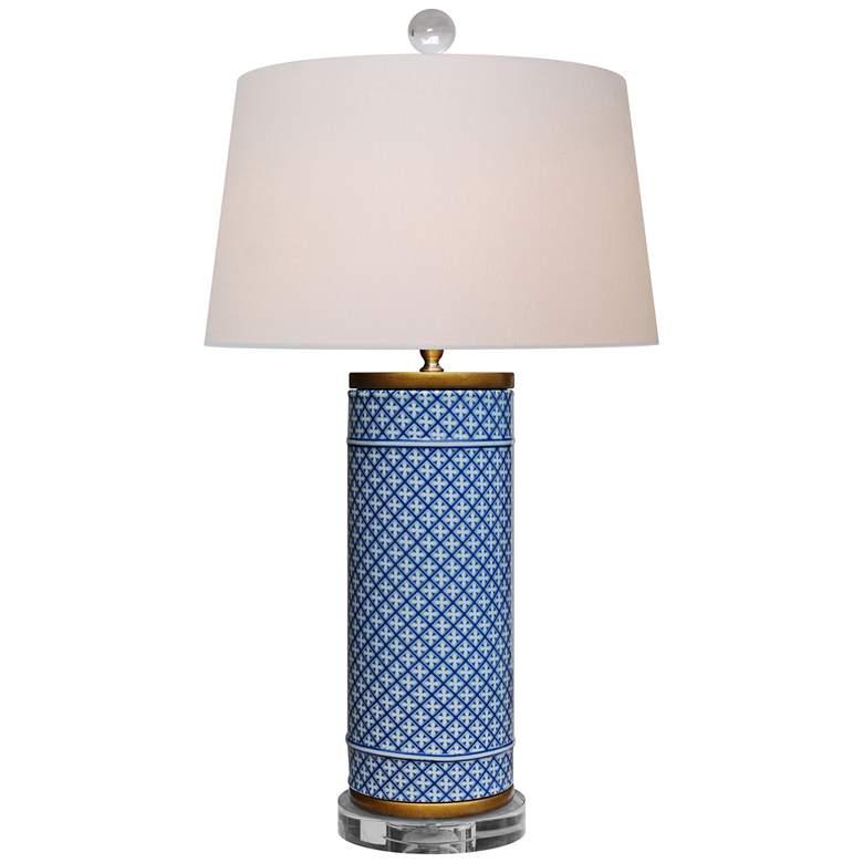 Zelda Blue and White Porcelain Cylindrical Vase Table Lamp