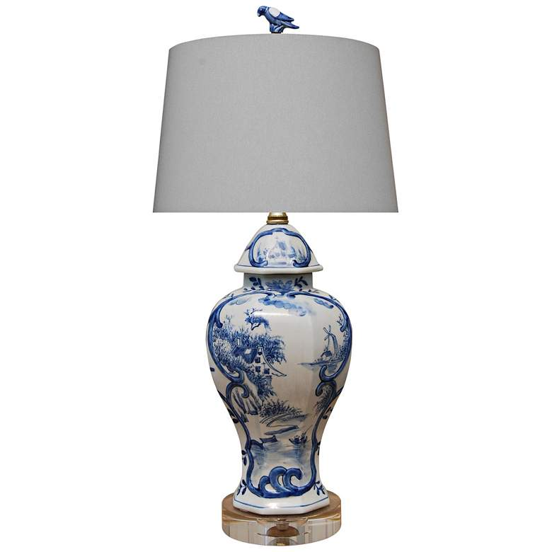 Marie Blue and White Porcelain Urn Accent Table