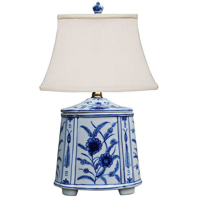 "Akeno 14"" High Blue and White Porcelain Tea"