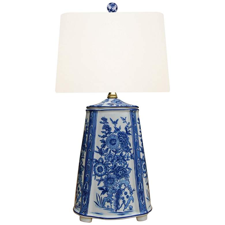 Akeno Blue and White Porcelain Accent Table Lamp