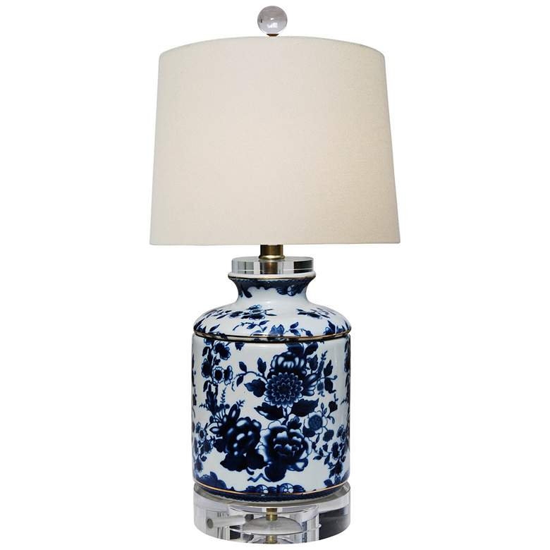 """Akeno 17""""H Blue and White Jar Table Lamp w/ Crystal Accents"""