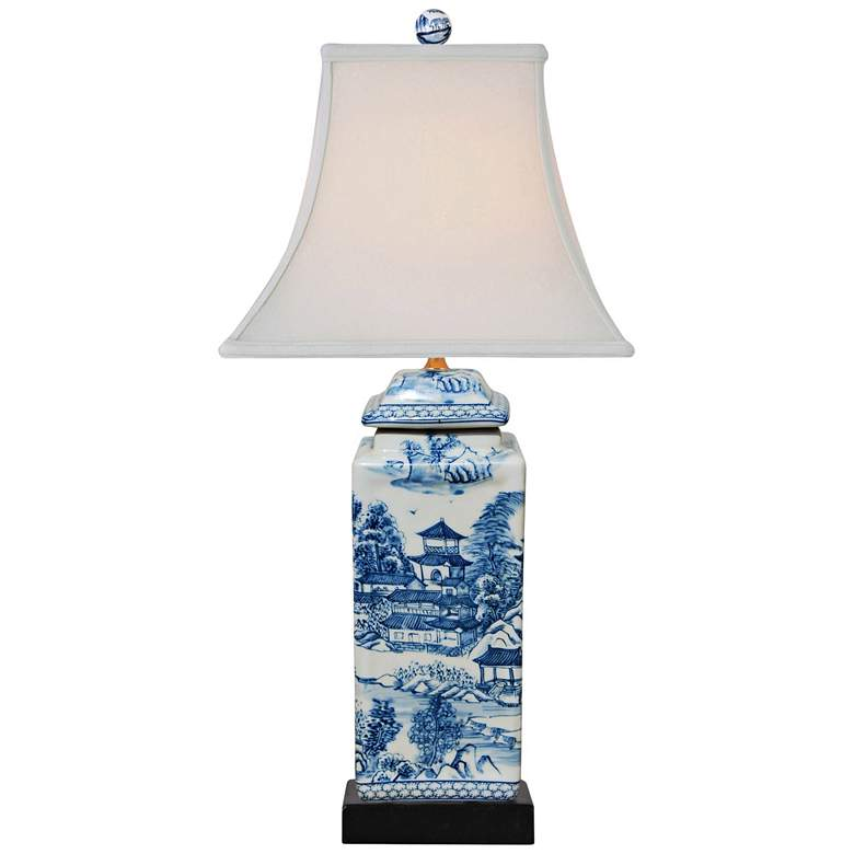 Ari Chinoiserie Blue and White Square Jar Table Lamp