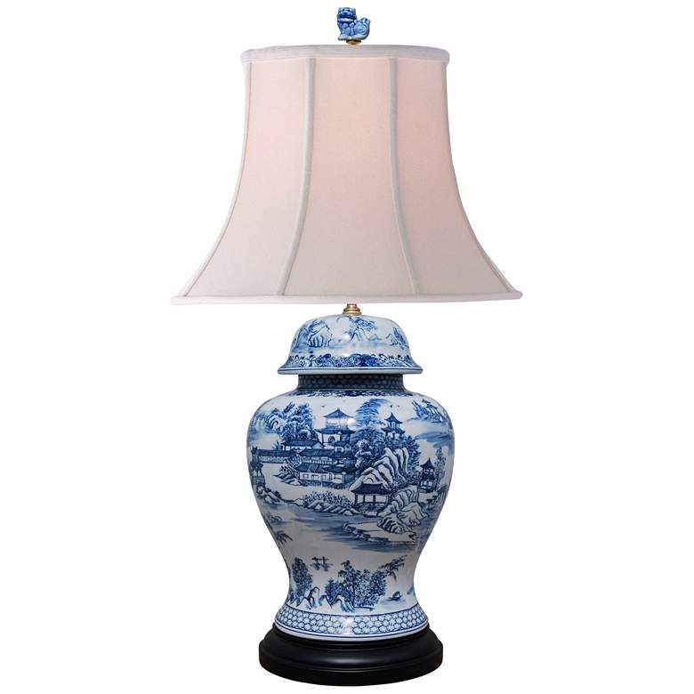 Dara Blue and White Chinoiserie Temple Jar Table Lamp