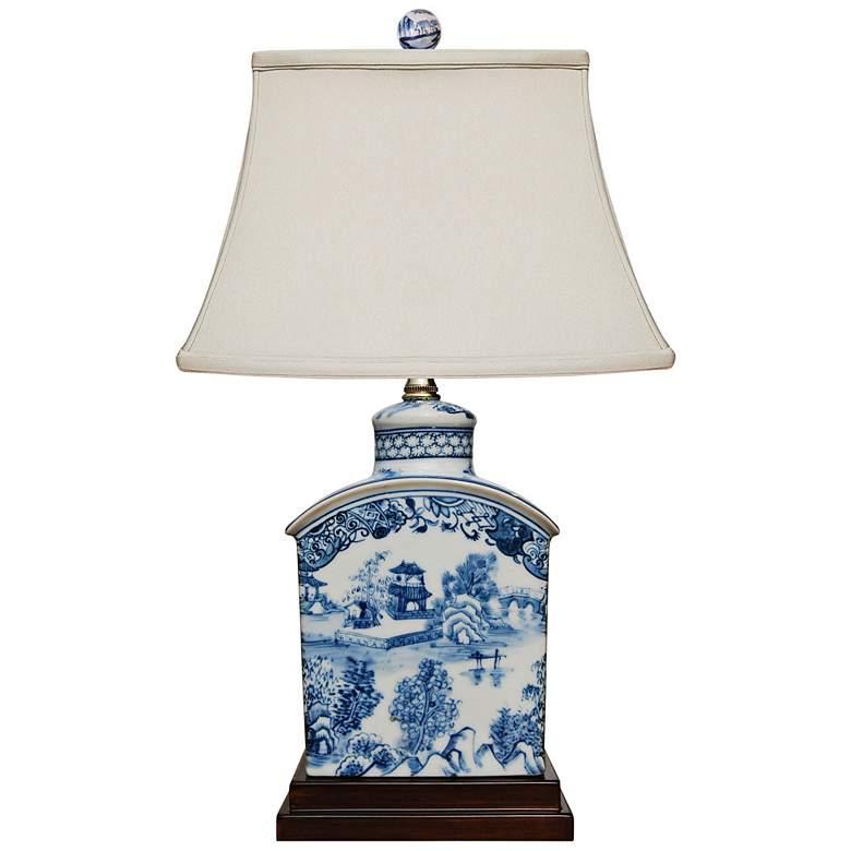 "Elison 17 1/2""H Blue and White Porcelain Tea Jar Table Lamp"