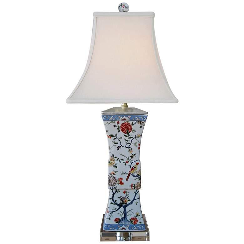Kaede Multi-Color Porcelain Square Vase Table Lamp