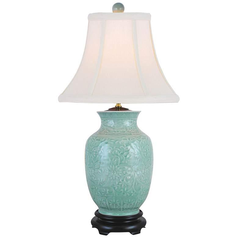 Margaret Celadon Porcelain Vase Table Lamp