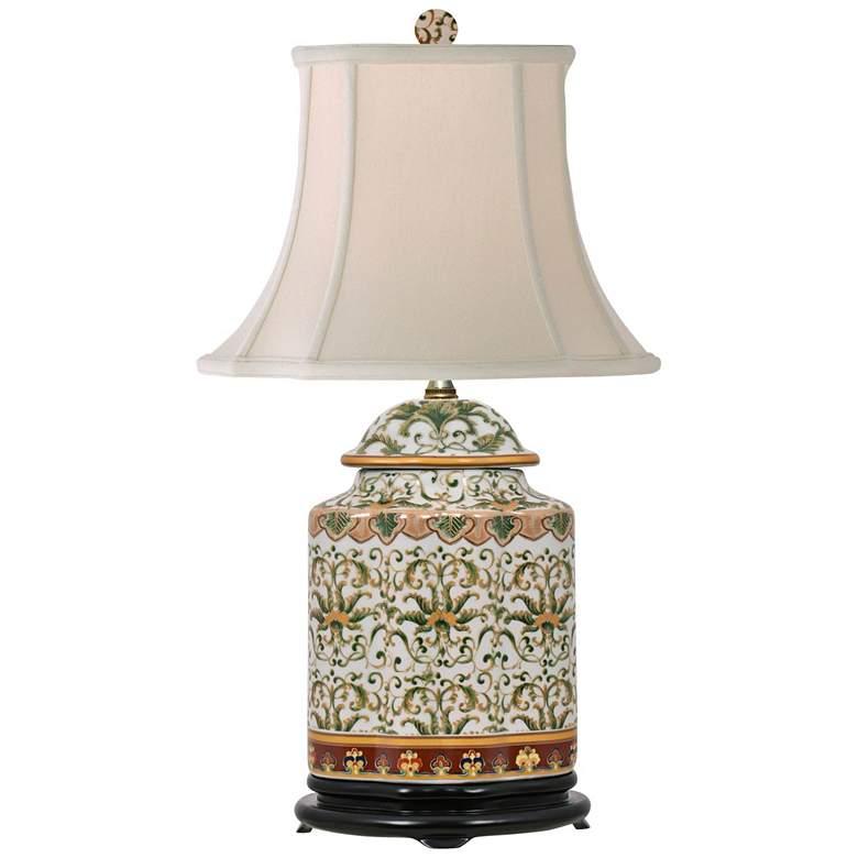 Akeno Multi-Color Porcelain Tea Jar Accent Table Lamp
