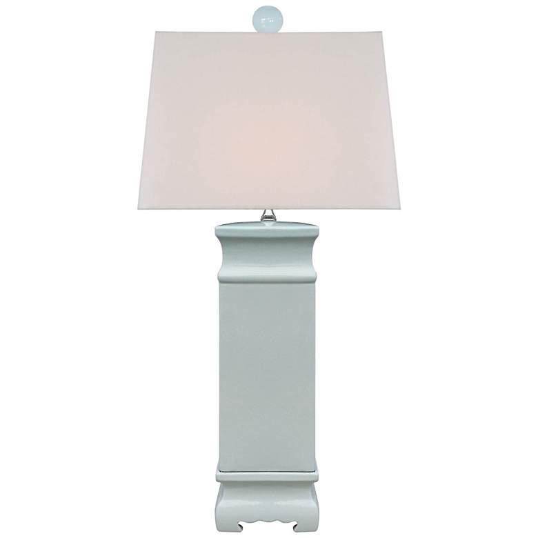 Ari Palladian Blue Porcelain Square Table Lamp