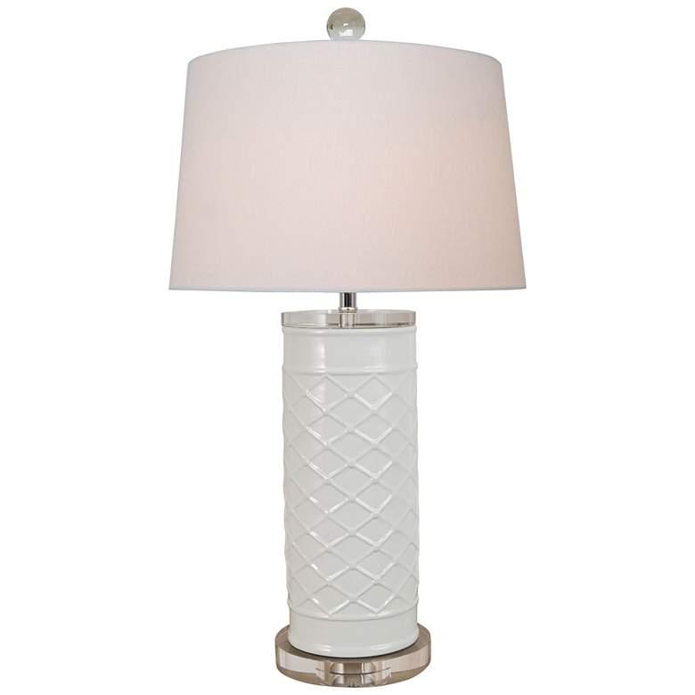 Lenon White Porcelain Zig Zag Cylindrical Vase Table