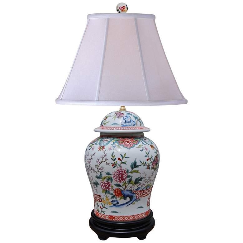 Dara Multi-Color Porcelain Table Lamp w/ Supreme Satin Shade