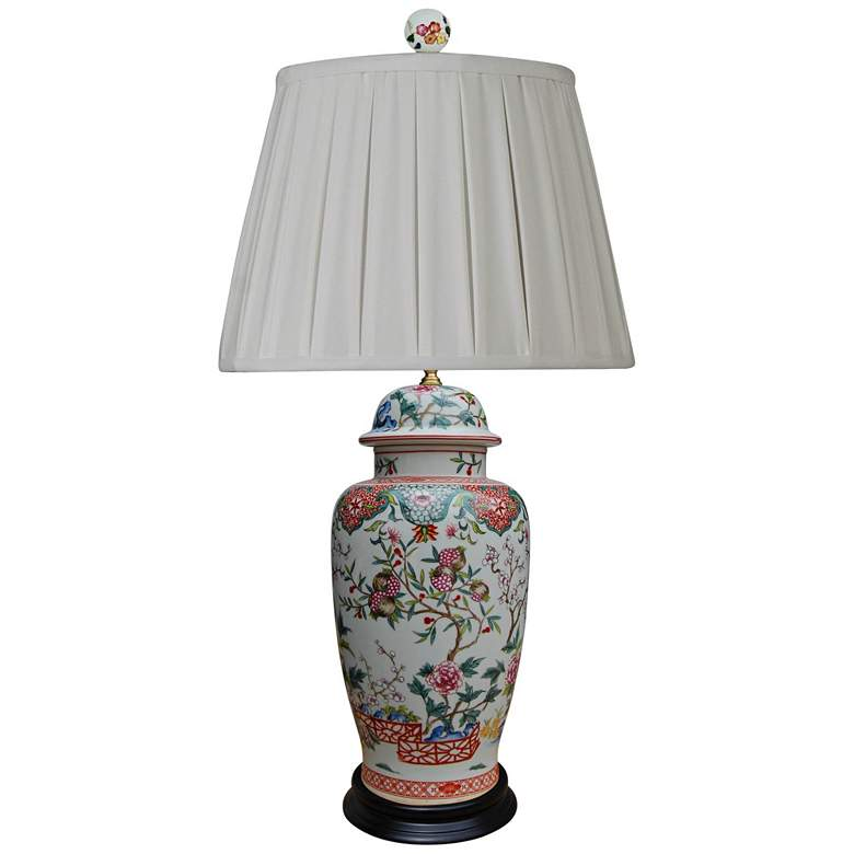 Dara Multi-Color Porcelain Table Lamp with Anna Rayon