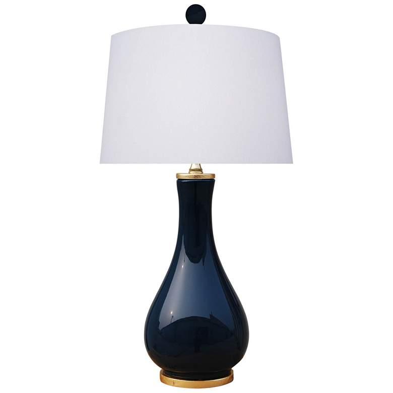 Mia Dark Navy Blue Porcelain Vase Accent Table Lamp