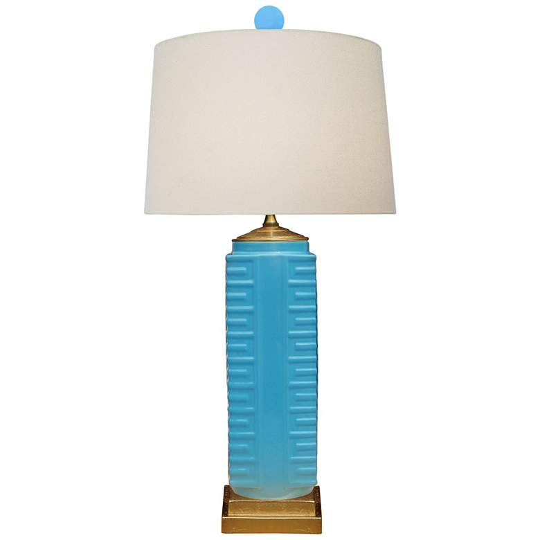 Lenon Turquoise Porcelain Square Vase Table Lamp