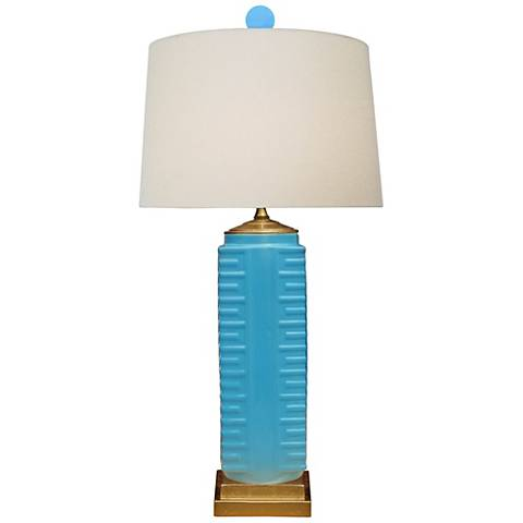 Lenon Turquoise Porcelain Square Vase Table Lamp