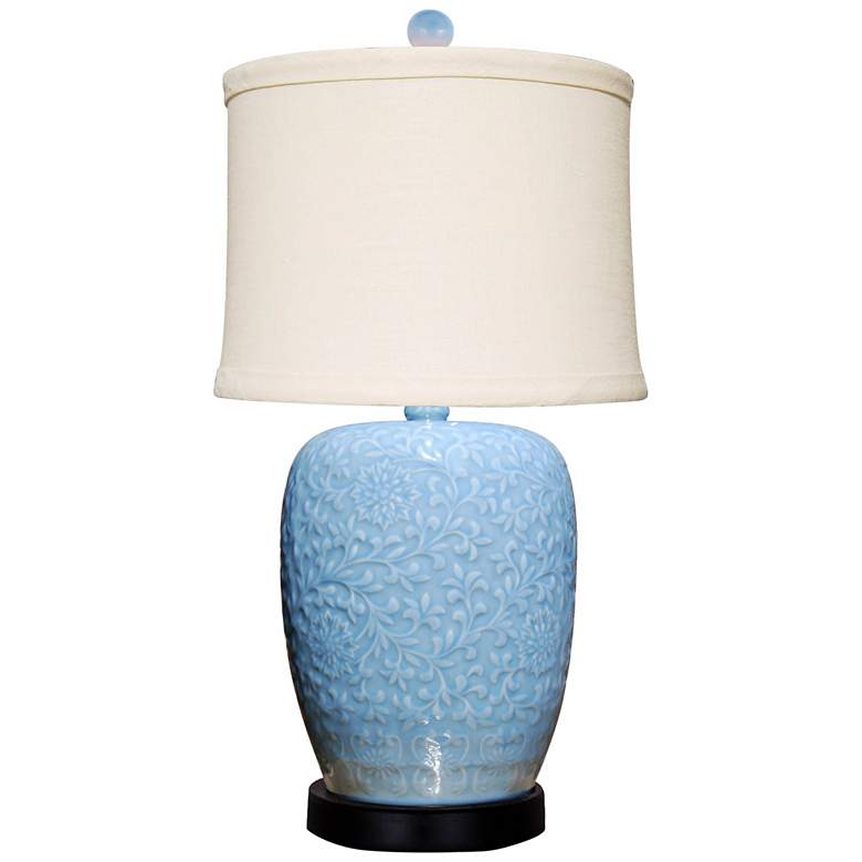 Brigitte Ice Blue Jar Table Lamp with Fine